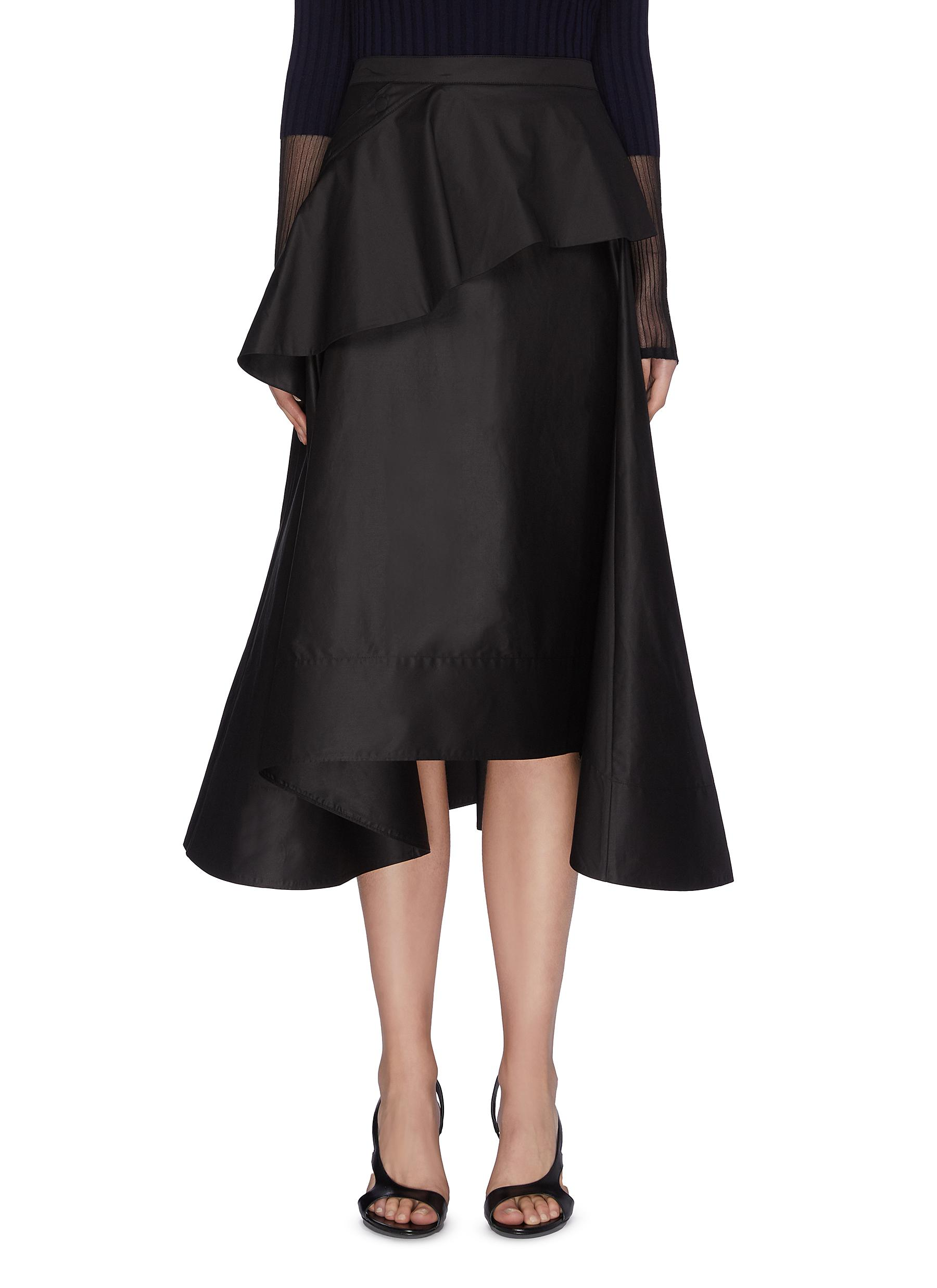 shop 3.1 Phillip Lim Two tiered ruffle front flared cotton midi skirt online