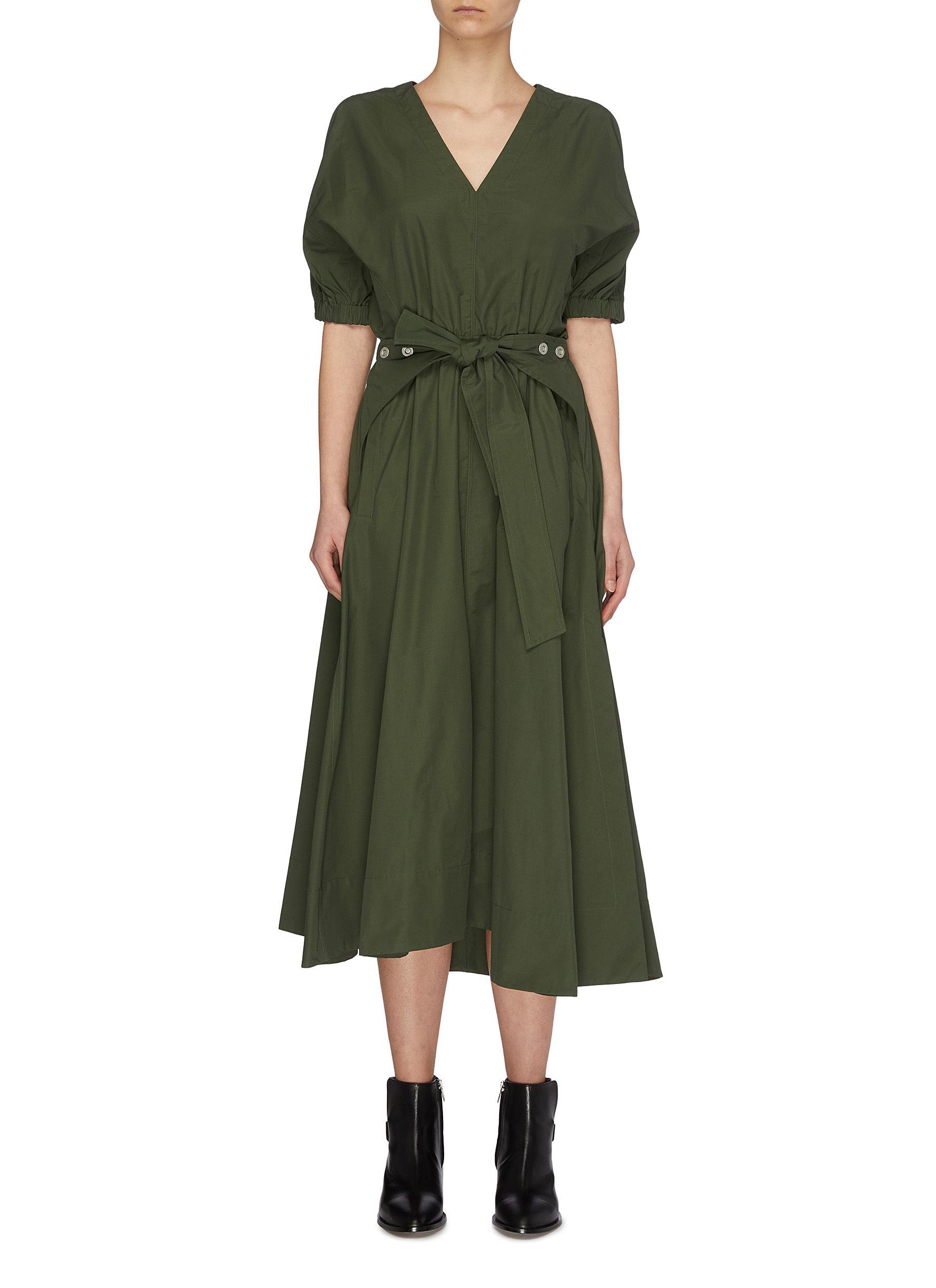shop 3.1 Phillip Lim Utility belted V-neck gathered sleeve dress online
