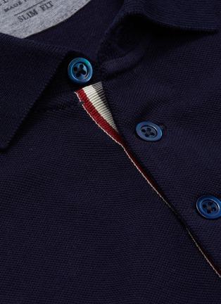 - BRUNELLO CUCINELLI - Stripe placket slim fit cotton polo
