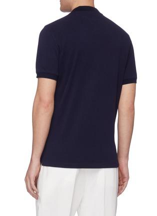 Back View - Click To Enlarge - BRUNELLO CUCINELLI - Stripe placket slim fit cotton polo