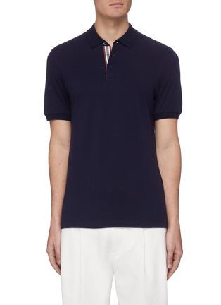 Main View - Click To Enlarge - BRUNELLO CUCINELLI - Stripe placket slim fit cotton polo