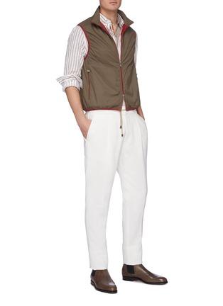 Figure View - Click To Enlarge - BRUNELLO CUCINELLI - Stripe placket slim fit cotton polo