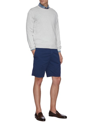 Figure View - Click To Enlarge - BRUNELLO CUCINELLI - Stretch cotton blend chino shorts