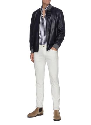 Figure View - Click To Enlarge - BRUNELLO CUCINELLI - Spread collar stripe cotton shirt