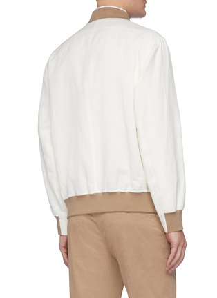 Back View - Click To Enlarge - BRUNELLO CUCINELLI - Contrast cuff zip front bomber jacket