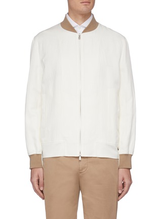 Main View - Click To Enlarge - BRUNELLO CUCINELLI - Contrast cuff zip front bomber jacket