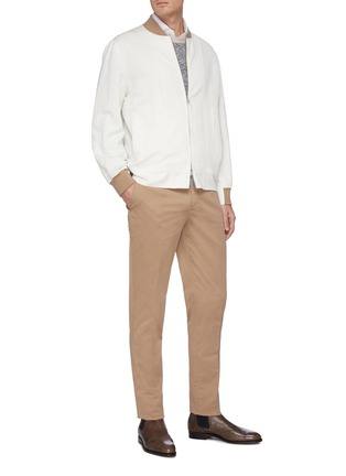 Figure View - Click To Enlarge - BRUNELLO CUCINELLI - Contrast cuff zip front bomber jacket