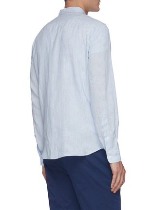 Back View - Click To Enlarge - BRUNELLO CUCINELLI - Band collar pinstripe linen cotton blend shirt