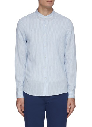 Main View - Click To Enlarge - BRUNELLO CUCINELLI - Band collar pinstripe linen cotton blend shirt