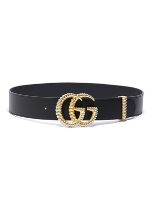 Main View - Click To Enlarge - GUCCI - 'GG Marmont' textured logo buckle leather belt