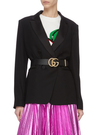 Figure View - Click To Enlarge - GUCCI - 'GG Marmont' textured logo buckle leather belt