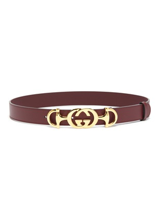 Main View - Click To Enlarge - GUCCI - GG horsebit buckle leather belt