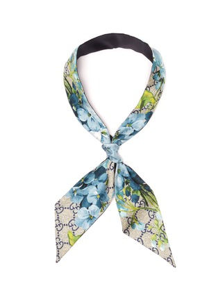 Main View - Click To Enlarge - GUCCI - Monogram floral twilly scarf