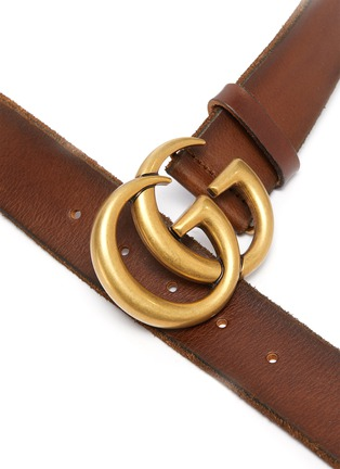 Detail View - Click To Enlarge - GUCCI - 'GG Marmont' textured logo buckle leather belt