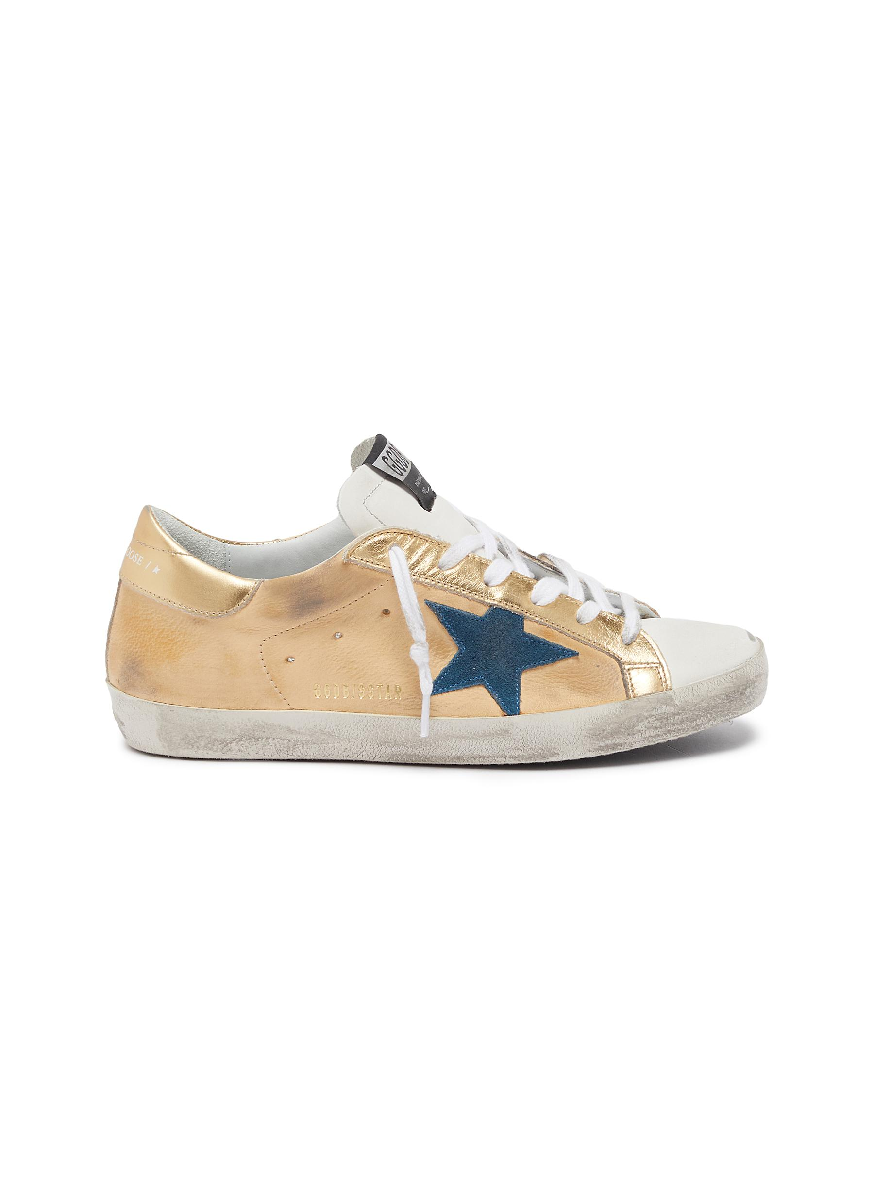 Golden Goose Sneakers Superstar star patch metallic tab leather upper