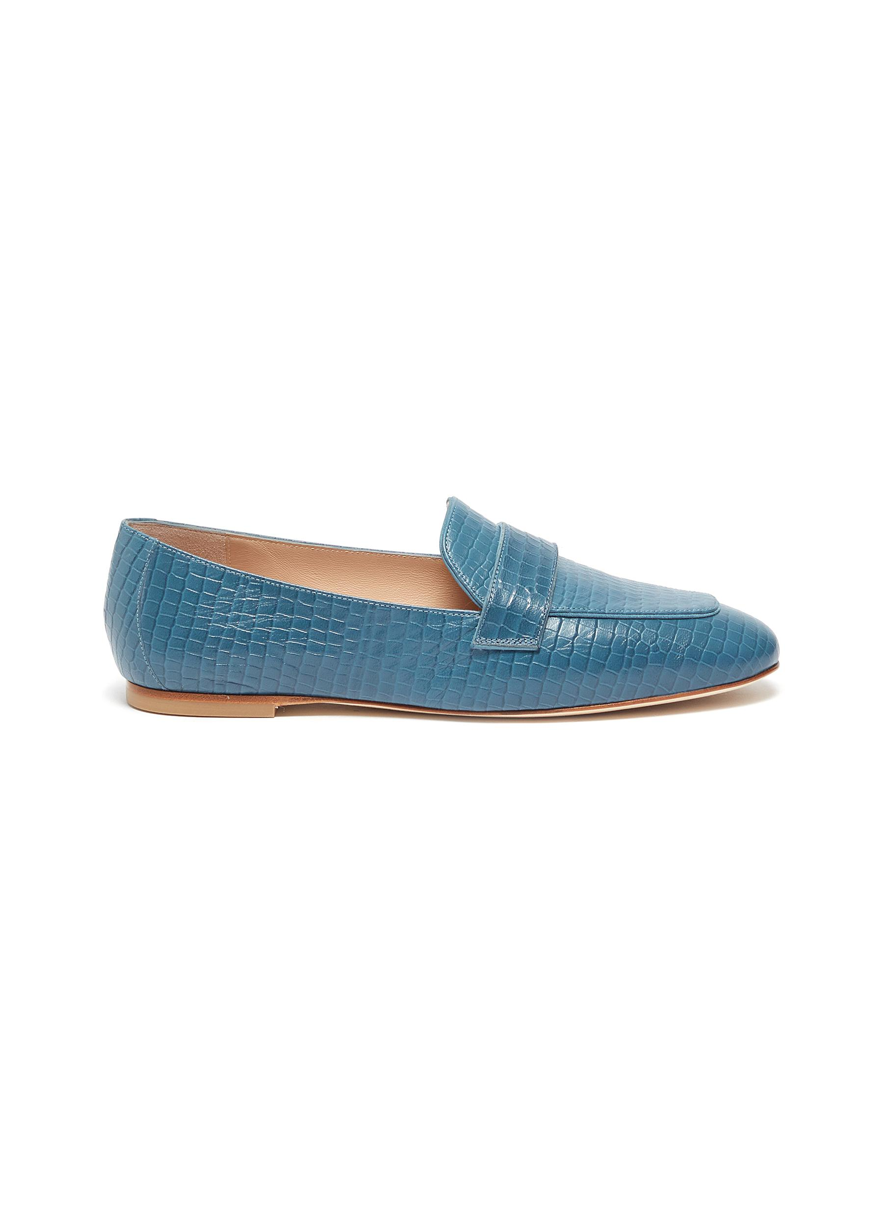 Stuart Weitzman Flats Payson croc embossed leather loafers