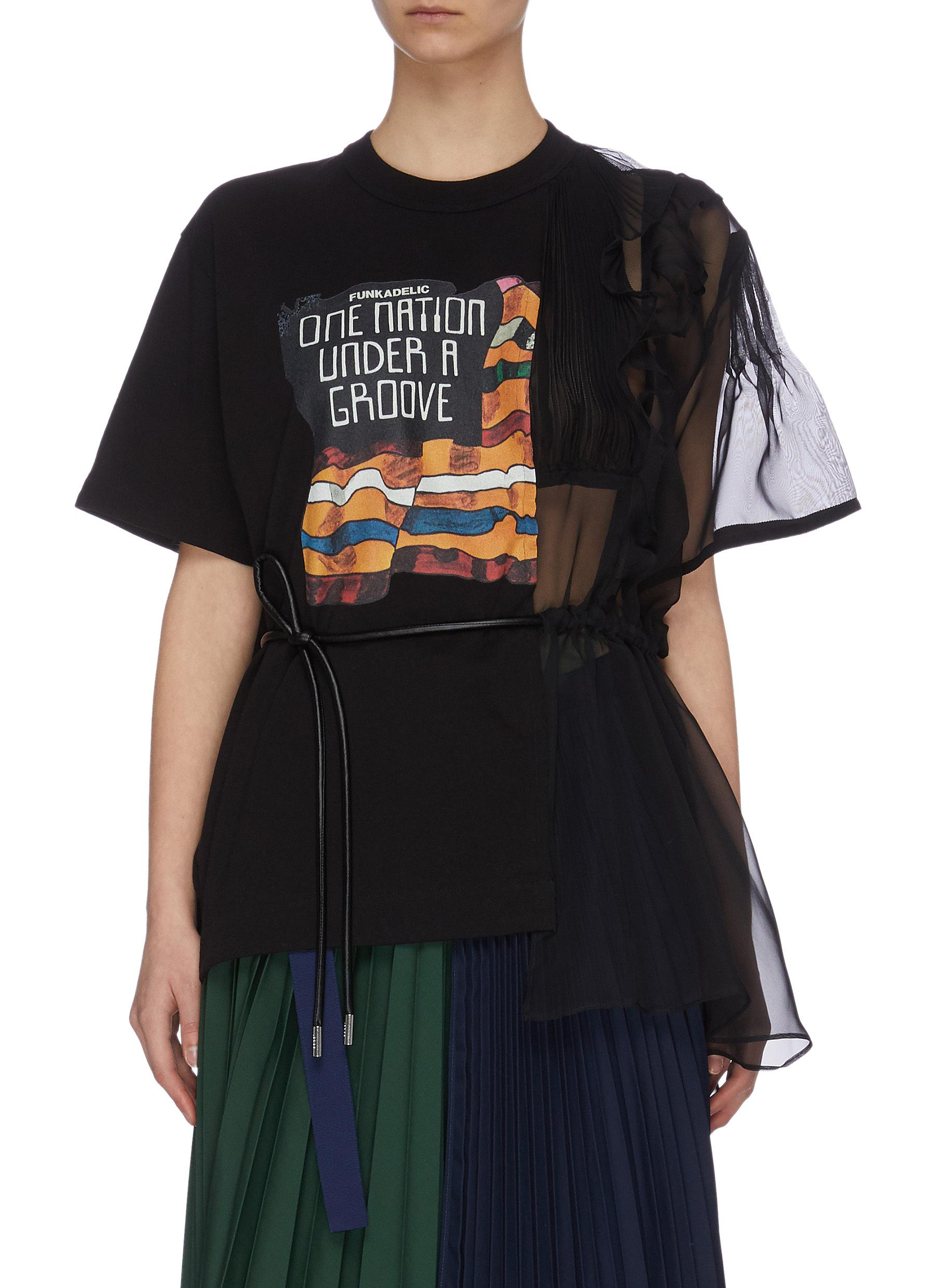 Buy Sacai Tops 'Funkadelic' asymmetric chiffon detail print top