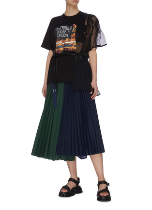Figure View - Click To Enlarge - SACAI - 'Funkadelic' asymmetric chiffon detail print top