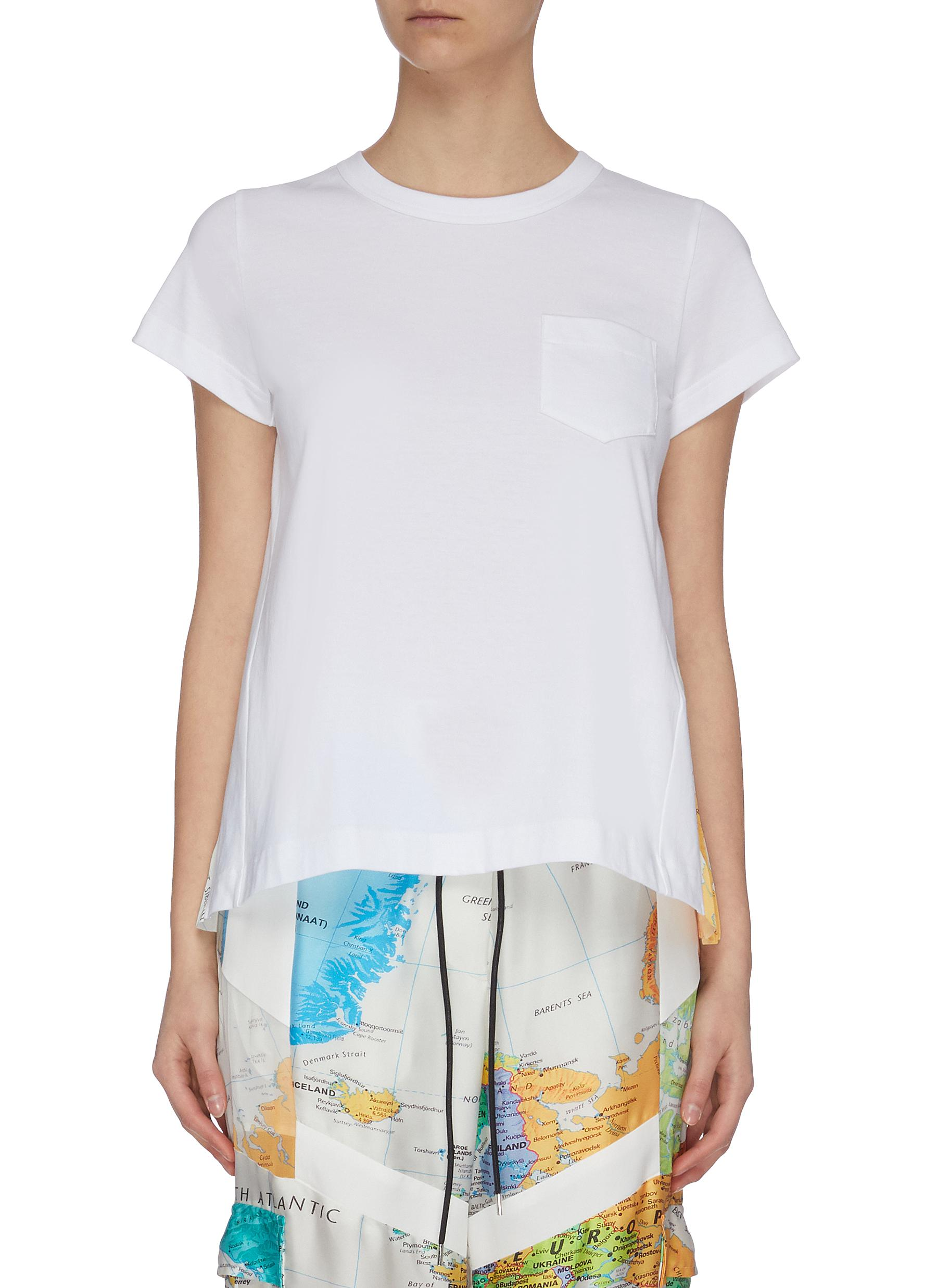 Buy Sacai Tops World map graphic print pleat back top