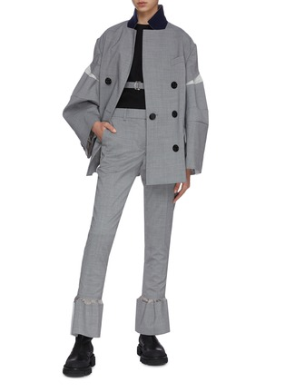 Figure View - Click To Enlarge - SACAI - Stripe outseam flare cuff tailored pants