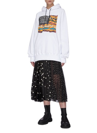 Figure View - Click To Enlarge - SACAI - Mix polka dot pleated skirt