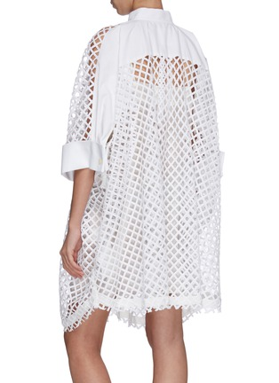 Back View - Click To Enlarge - SACAI - Oversized mesh lace shirt dress