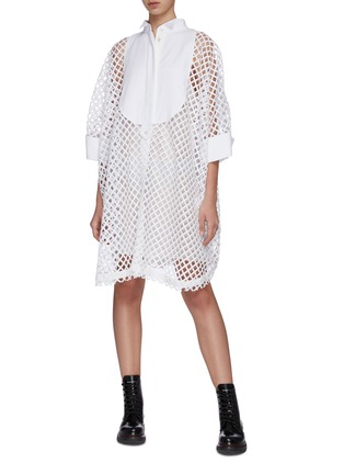 Figure View - Click To Enlarge - SACAI - Oversized mesh lace shirt dress