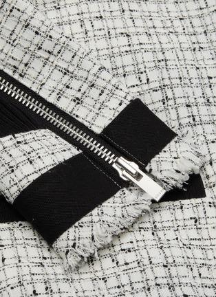 - SACAI - Asymmetric gather back tweed jacket