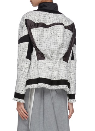 Back View - Click To Enlarge - SACAI - Asymmetric gather back tweed jacket