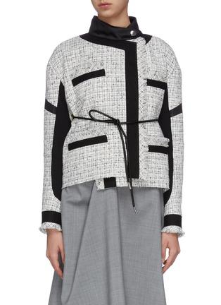 Main View - Click To Enlarge - SACAI - Asymmetric gather back tweed jacket