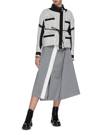 Figure View - Click To Enlarge - SACAI - Asymmetric gather back tweed jacket