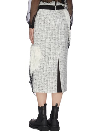 Back View - Click To Enlarge - SACAI - Asymmetric fringe patch tweed pencil skirt