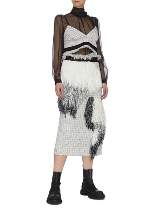 Figure View - Click To Enlarge - SACAI - Asymmetric fringe patch tweed pencil skirt