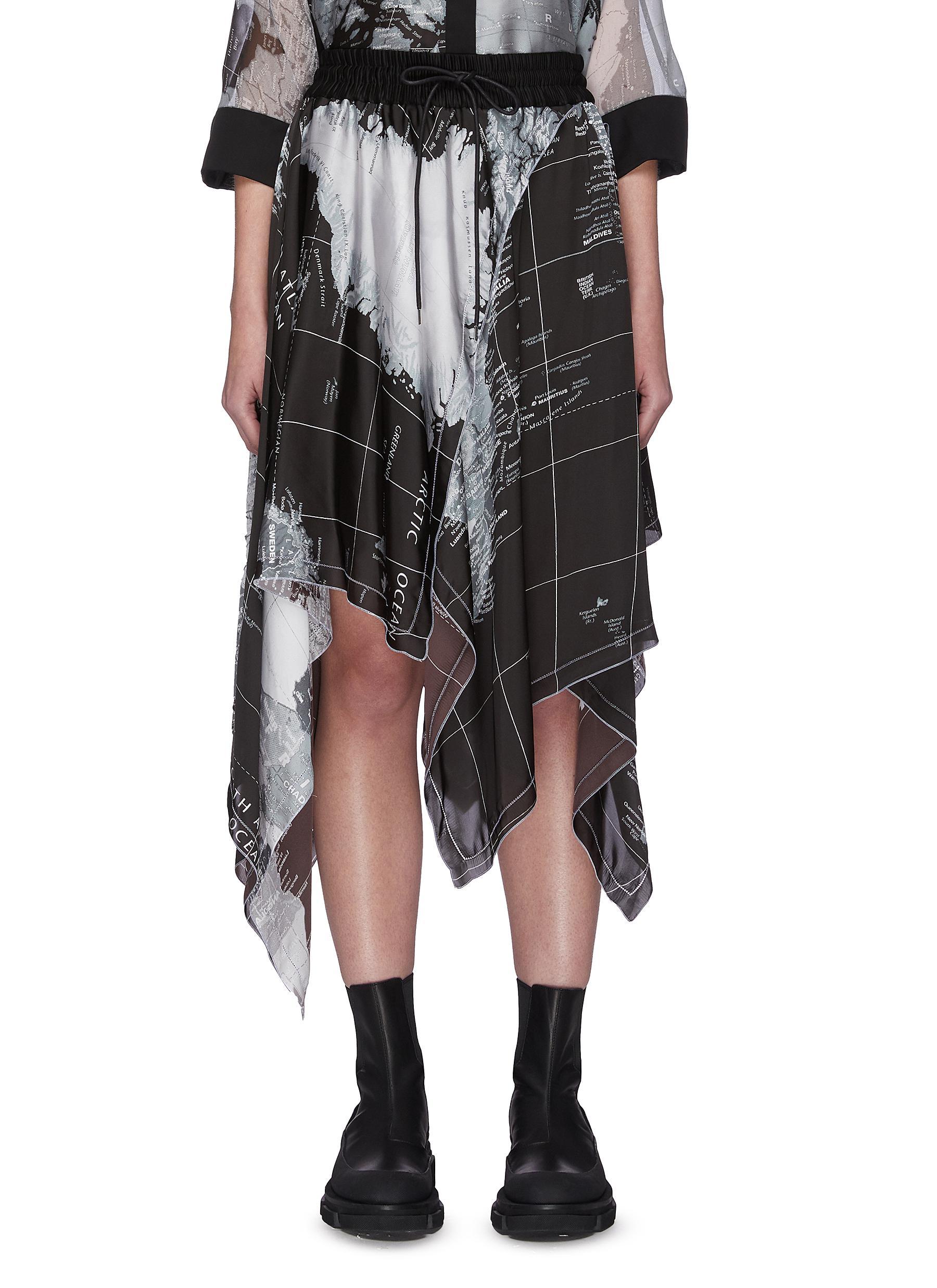 shop Sacai Asymmetric world map skirt online
