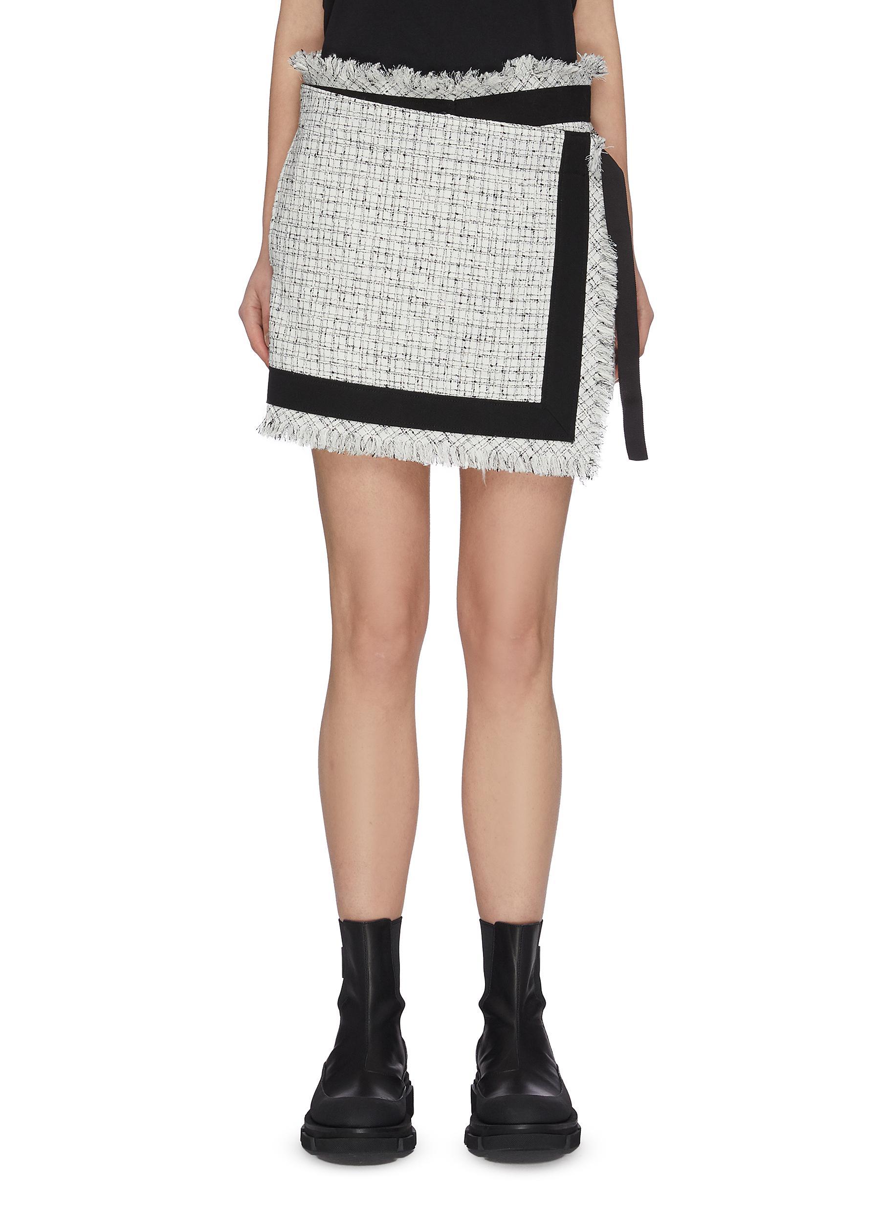 shop Sacai Raw edge tweed wrap shorts online
