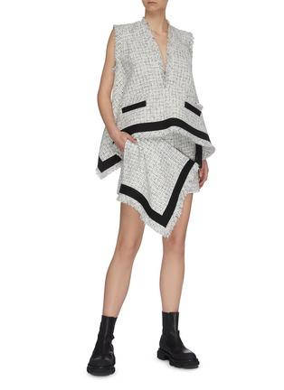 Figure View - Click To Enlarge - SACAI - Raw edge tweed wrap shorts