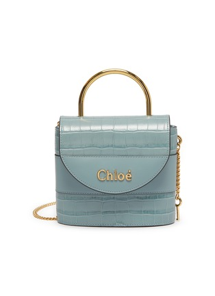 Main View - Click To Enlarge - CHLOÉ - 'Abylock' logo croc-embossed leather handle bag