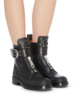 Figure View - Click To Enlarge - CHLOÉ - 'Roy' buckle platform leather boots