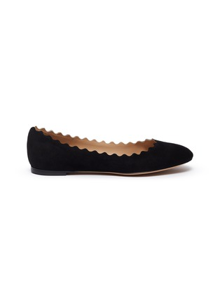 Main View - Click To Enlarge - CHLOÉ - 'Lauren' suede scalloped flats