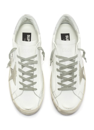 Detail View - Click To Enlarge - GOLDEN GOOSE - 'Superstar' metallic tab leather sneakers