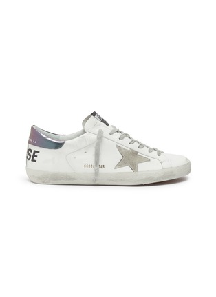 Main View - Click To Enlarge - GOLDEN GOOSE - 'Superstar' iridescent tab leather sneakers