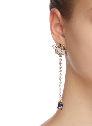 Figure View - Click To Enlarge - ANABELA CHAN - 'Emerald Paradise' diamond mother of pearl gemstone earrings