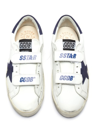 Figure View - Click To Enlarge - GOLDEN GOOSE - 'Old School' smudged kids leather sneakers