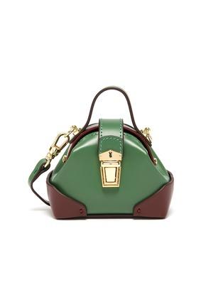 Main View - Click To Enlarge - MANU ATELIER - Micro denim top handle leather shoulder bag