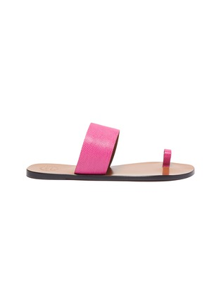 Main View - Click To Enlarge - ATP ATELIER - 'Astrid' toe ring snake embossed leather slides