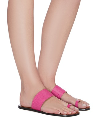 Figure View - Click To Enlarge - ATP ATELIER - 'Astrid' toe ring snake embossed leather slides