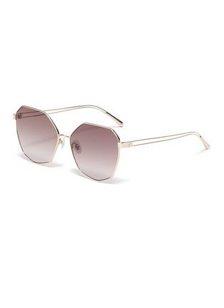 Main View - Click To Enlarge - FOR ART'S SAKE - 'Moma Champagne' Angular Metal Sunglasses