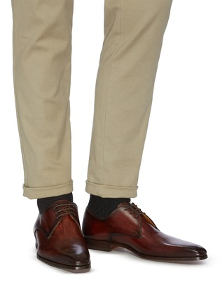 Figure View - Click To Enlarge - MAGNANNI - Three eyelet leather derbies