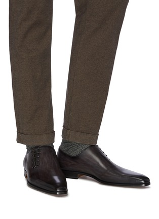 Figure View - Click To Enlarge - MAGNANNI - SLANT LACE-UP LEATHER OXFORDS
