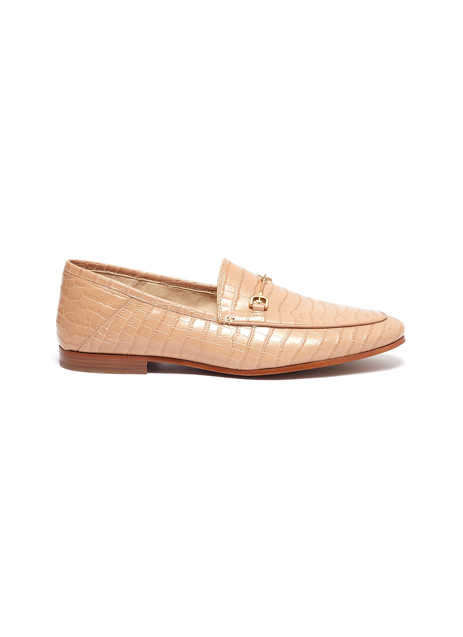 Sam Edelman Flats Loraine croc embossed horsebit leather step-in loafers